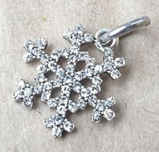1 Crystal Rhinestone SNOWFLAKE Christmas Dangle Bead fit European Charm Bracelet