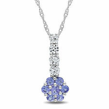 10k White Gold 1 Ct White Sapphire & Tanzanite Flower Pendant Necklace 17""