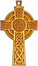 Celtic Cross Natural Baltic Birch Wood 41mm Pendant