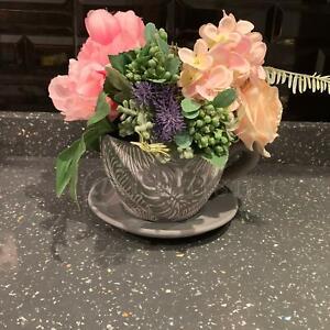 18cm Small Embossed Grey Ceramic Teacup Planter Babylon Garden Herb/Flower Pot