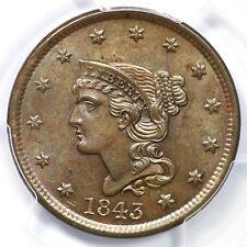 1843 N-3 R-3+ Pcgs Ms 63 Bn Petite Head Braided Hair Large Cent Coin 1c
