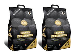 2x 10 kg Kohle Manufaktur Grillbrikett Grill Briketts bis zu 4,5 Std Brenndauer