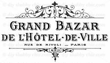 A6 PARIS FURNITURE DECAL SHABBY CHIC IMAGE TRANSFER VINTAGE LABEL GRAND HOTEL