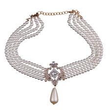 Statement Collier Perlen Strass Ornament Creme Tropfenperle Perlenkette Gold
