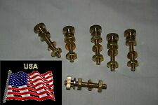 """Six Pure Solid Brass Binding post's 6/32 nuts, 1 1/8"""" Long Rod"""
