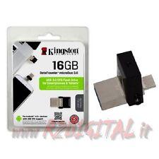 PENDRIVE DTMICRODUO KINGSTON 16 GB USB 3.0 PENNA TABLET SMARTPHONE ADATTATORE