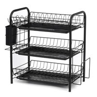 3 Tier Stainless Steel Dish Rack Drainer Cutlery Kitchen Storage Board Holder U