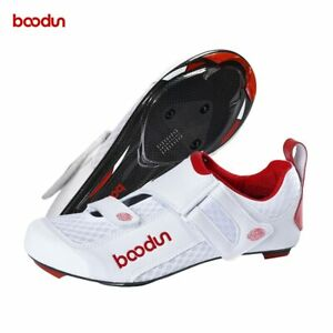 2021 Boodun Pro Carbon Fiber Road Bike Shoes Non-Slip Mesh Upper Cycling Shoes