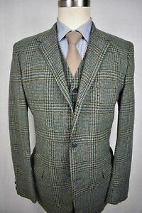 1970's Brad Dawson Green/Brown Plaid Wool 3/2 Roll Sport Coat w/ Vest Size: 38R