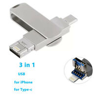 3 in 1 128G Type C USB Flash Drive Memory Stick U Disk For iPhone Huawei Samsung