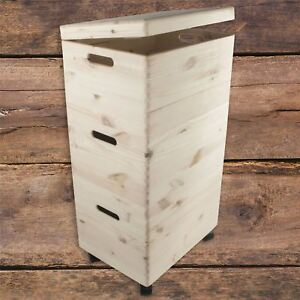 Set of Three Large Stackable Wooden Trunks on Wheels / Storage Chest Craft Box