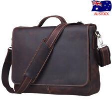 """Men's Vintage Leather 14"""" Laptop Briefcase Messenger Bag Crossbody Sling Satchel"""