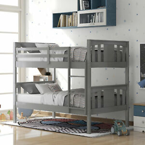 Wooden Stackable Twin over Twin Bunk Bed w/ Ladder No Box Spring Needed Bedroom