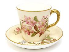 Royal Worcester Blush Ivory Demitasse Cup & Saucer 1889 Hand Painted Gilt Floral