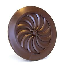 """Brown Round Ducting Ventilation Cover 100mm / 4"""" Shutter Circle Air Vent Grille"""
