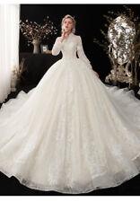 Elegant luxurious wedding dress full-length high neck lace applique bridal gown