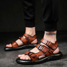Men Straps Buckle Slingbacks PU Roma Sandals Sports Non-slip Hollow Shoes wx00