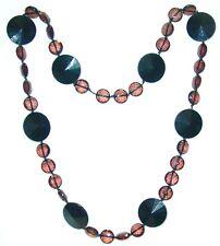 BIGIOTTERIA - Collana  c/perle di plastica nere e trasparenti