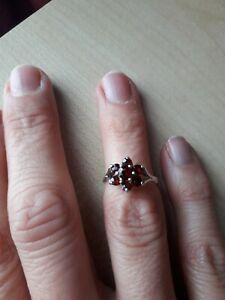 Vintage 925 Sterling Silver Red Garnet Cluster Dress Ring Size J