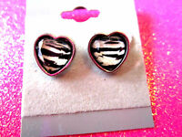 Zebra Heart Stud Earrings 1/2 Inch