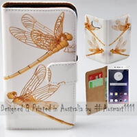 For OPPO Series - Gold Dragonfly Theme Print Wallet Mobile Phone Case Cover