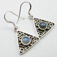 Solid Sterling Silver Blue Labradorite Drop Dangle Earrings Stone Jewelry