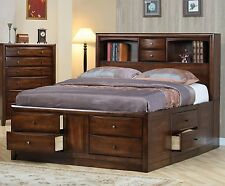 BOOKCASE HEADBOARD KING CHEST BED WITH 10 DRAWERS BEDROOM FURNITURE