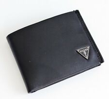 NEW GUESS WILSON MEN BLACK LEATHER PASSCASE BILLFOLD ID CREDIT CARD CASE WALLET