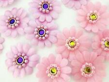 "40 Pink & Purple Daisy Pearl Bead Rim Jewel Satin Flower 1"" Applique/trim H332"