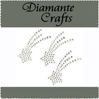 3 x 42mm Clear Diamante Shooting Stars Rhinestone Vajazzle  Body Art Gems