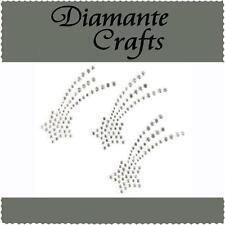 3 x 42mm Clear Diamante Shooting Stars Rhinestone Vajazzle  Body Art Gems