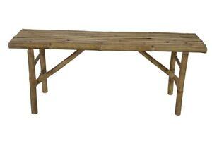 Lesli Living Bambus Sitzbank 120 cm für 2 Personen Gartenbank Bambusbank natur