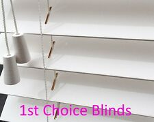 Made to Measure DELUXE SUNWOOD 50mm HIGH GLOSS WHITE Wood Wooden Venetian Blind