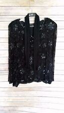 Vintage Royal Feelings Beaded Top Blouse Sheer Sleeves V-Neck 100% Silk Size M