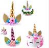 UNICORN Theme Cake Topper Handmade Cute Horn Ears Flower Birthday Party Decor