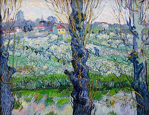 Van Gogh 1888, View of Arles Flowering Orchard Fade Proof HD Art Print or Canvas