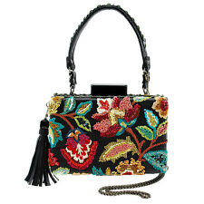 Marry Frances Garden Tour Black Flower Bag Handbag Beaded Winter New