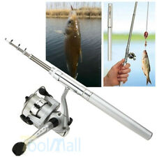 Portable Mini Aluminum Pocket Pen Shape Fishing Fish Rod Pole + Fishing Reel Hot
