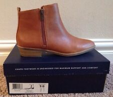 NWB CHAPS RALPH LAUREN SABRA ANKLE BOOTS, SIDE ZIPPERS, POLO TAN SIZE 9 B $90