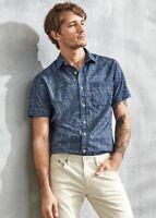 New Banana Republic Tribal Print Indigo Navy Shirt Slim Fit Sz M,L,XL