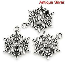 15 ANTIQUE SILVER CHRISTMAS SNOWFLAKE CHARM~22mm~Cards~Wine Glass Charm (X101)UK