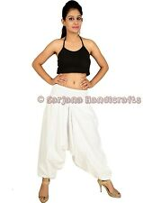 Women White Cotton Harem Pants Dance Aladdin Trousers Yoga Baggy Hippie Genie