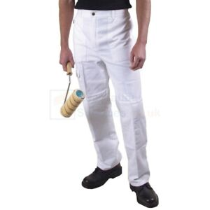 Maxim White Cotton Painter's Trousers XL Waist 42-44 Elasticated Multi Pocket