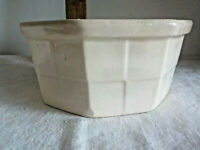 "Antique Cream Stoneware Octagon Utility Bowl USA 6"" basket pattern"