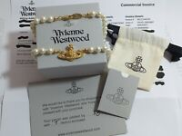 ⭐️ VIVIENNE WESTWOOD CHOKER  PEARL BAS RELIEF GOLD NECKLACE - BRAND NEW IN BOX