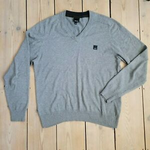 Mens BENCH Pullover Jumper Grey Size M Cotton