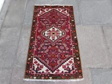 Vintage Traditional Hand Made Oriental Red Pink Wool Small Rug 113x64cm