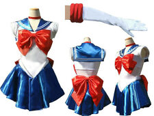 Sailor Moon Sailormoon Blue Serena Cosplay Costume + glove + Tiara