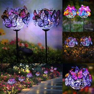 2X Solar Powered LED Butterfly Stake Lights Garden Yard Outdoor Lamp Waterproof