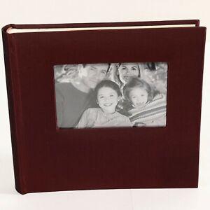 "Dark Red Satin Fabric Slip-in Photo Album Book Holds 160 Pictures 4"" x 6"""